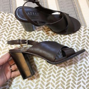 Lauren Ralph Lauren Olessia brownleather sandals 9